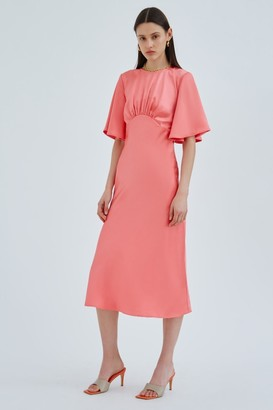 C/Meo CONTRASTING SHORT SLEEVE DRESS Coral