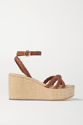 Gianvito Rossi 80 Braided Leather Wedge Sandals - Tan