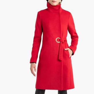 Anne Weyburn Asymmetric High-Neck Coat with Tie-Waist and Pockets