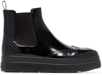 Prada 45 Leather Flatform Chelsea Boots