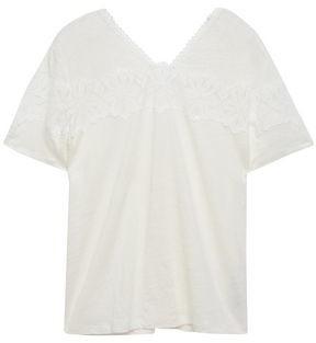 Sandro Guipure Lace-trimmed Linen-jersey T-shirt