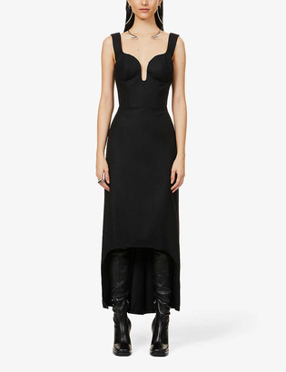 Alexander McQueen Plunge-neck wool maxi dress