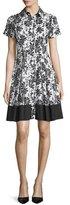 Shoshanna Short-Sleeve Floral-Print Shirtdress, Jet/Off White