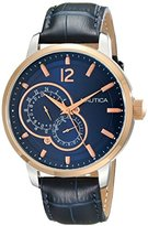 Nautica Men's NAD16501G NCT 15 Rose Gold-Tone Stainless Steel Watch with Blue Leather Band