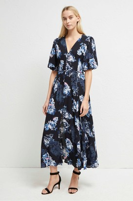French Connection Caterina Crepe Button Down Floral Midi Dress