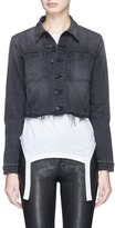 L'Agence 'Zuma' star studded cropped denim jacket