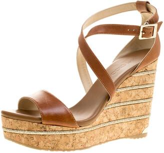 Jimmy Choo Brown Leather Portia Cork Wedge Sandals Size 41