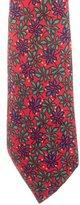 Hermes Silk Leaf Print Tie