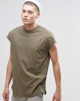 Asos Oversized Sleeveless T-Shirt With Curved Hem And Side Zips In Khaki