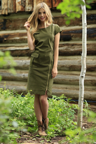 Shabby Apple Sage Sheath Zipper Dress Olive