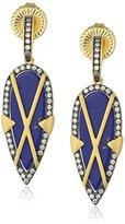 "Freida Rothman Indigo Armour"" Criss Cross Lapis Shield Drop Earrings"