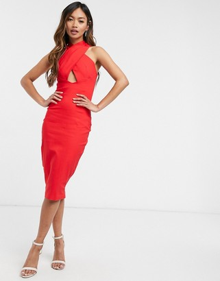 Vesper cross neck midi dress with cut-out detail in red