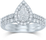 JCPenney MODERN BRIDE 1 CT. T.W. Fancy-Cut Diamond Pear-Shaped 14K White Gold Bridal Ring Set