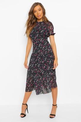 boohoo High Neck Floral Mesh Midi Dress