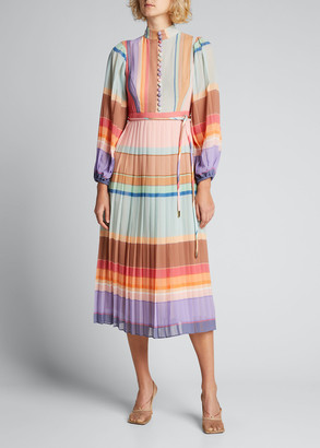 Zimmermann Pleated Long-Sleeve Striped Midi Dress