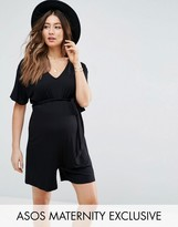 Asos Belted Playsuit With Kimono Sleeve