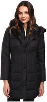 Larry Levine 3/4 Length Down Coat w/ Soft Faux Fur Trim