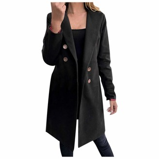 Younthone Women's Coats Faux Wool Long-Sleeved Double-Breasted Trench Coat Slim Elegant Ladies Jacket Casual Parka Outerwear Green