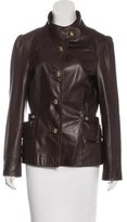 Milly Leather Button-Up Jacket