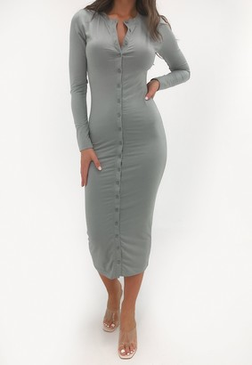 Missguided Grey Round Neck Button Through Midi Dress
