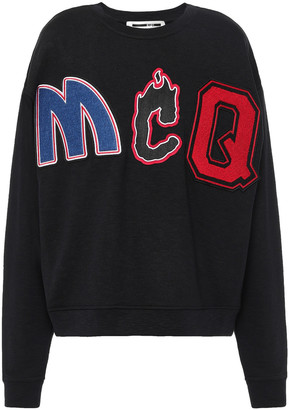 McQ Appliqued French Cotton-terry Sweatshirt