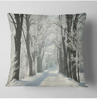 "Country Road Designart Between Foggy Trees Forest Throw Pillow - 16"" X 16"""