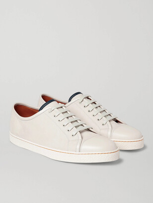 John Lobb Levah Cap-Toe Suede And Leather Sneakers