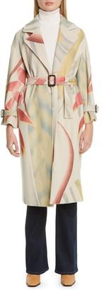 Etro Leaf Print Wool & Cashmere Coat
