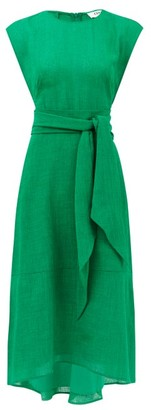 Freya Cefinn Tie-sash Voile Midi Dress - Womens - Green