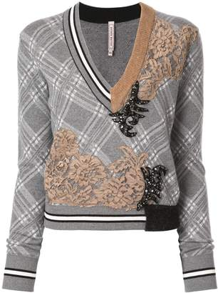 Antonio Marras lace-panelled checked jumper
