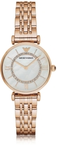Emporio Armani Rose Gold PVD Stainless Steel Women's Quartz Watch w/Mother of Pearl Signature Dial