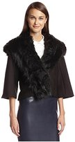 Natori Women's Cloque Jacket with Faux Fur Collar