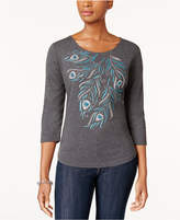 Karen Scott Embellished Scoop-Neck T-Shirt, Created for Macy's