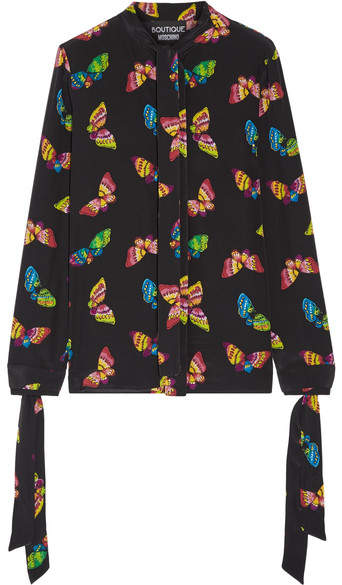Moschino Pussy-bow Printed Silk Crepe De Chine Blouse - Black