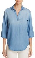 Side Stitch Chambray Three-Quarter Roll Sleeve Shirt