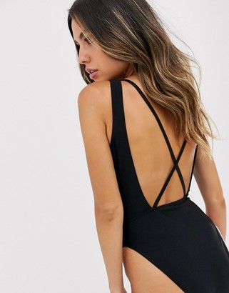 UNIQUE21 tie dye spaghetti back high leg swimsuit-Black