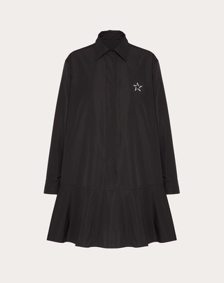 Valentino Vltnstar Micro-faille Dress Women Black Cotton 54%, Polyester 46% 38