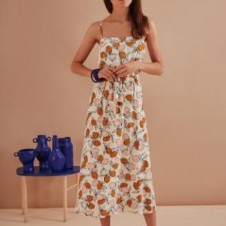 Des Petits Hauts Ecru Rafalia Long Dress with Thin Adjustable Straps - 1