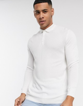 Topman long sleeve knitted polo in white