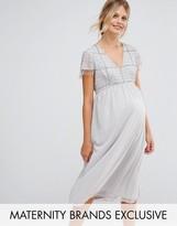 Maya Maternity Midi Dress With Embellished Bodice And Fringed Sequin Detail