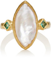 Cathy Waterman Women's Pearl & Emerald Ring