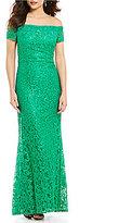 Carmen Marc Valvo Off-the-Shoulder Lace Gown