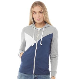 Converse Womens Star Chevron Colorblock Fleece Full Zip Hoodie Grey Heather