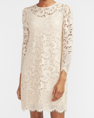 Express Lace Puff Sleeve Shift Dress