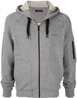 Ermenegildo Zegna logo print zipped hoodie