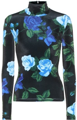 Richard Quinn Floral stretch-velvet top