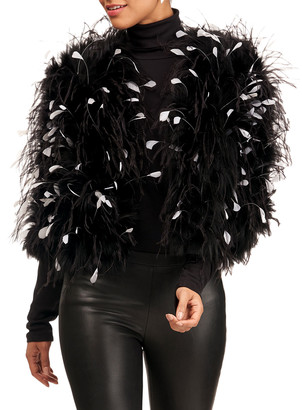 Oscar de la Renta Silver Fox Jacket With Ostrich Feathers