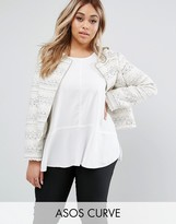 Asos Boucle Jacket With Fringe Detail