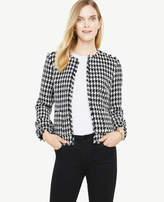 Ann Taylor Houndstooth Fringe Jacket