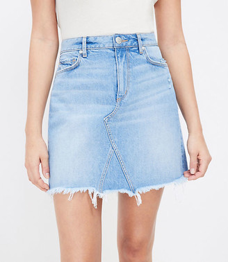 LOFT Frayed Denim Shift Skirt